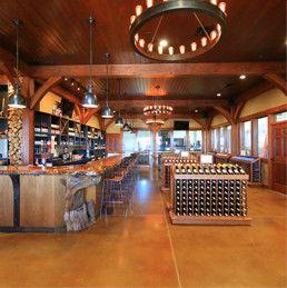 wine racks in tasting room